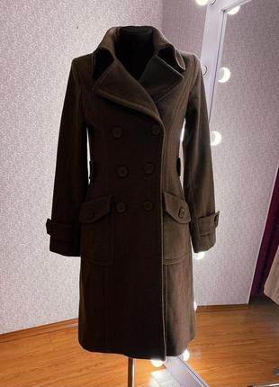 Женское шерстяное демисезонное пальто на подкладке