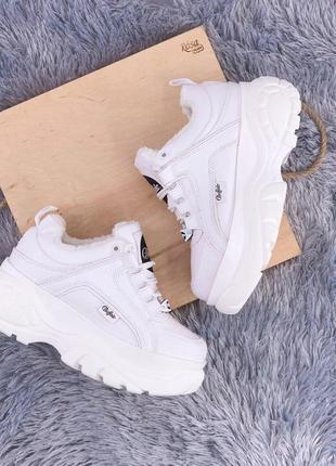 Женские💎buffalo classic low white💎зимние белые стильные кроссо...
