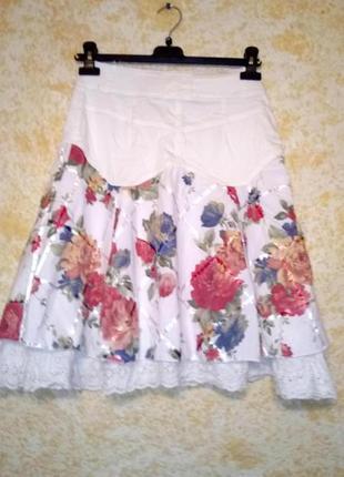 Белая воздушная юбка на кокетке, с подкладкой