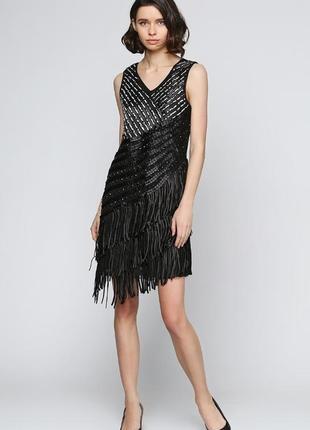 Черное нарядное платье tian mei однотонное