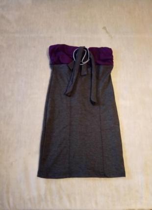 Платье бандо серо-фиолетовое