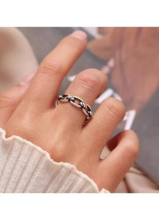 🔗трендовое кольцо с плетением кольцо с цепью кольцо