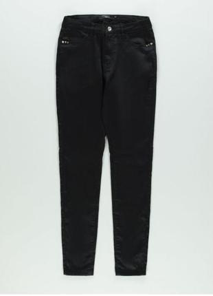 Черные атласные брюки-скини