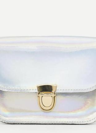 Серебряная сумка кросс-боди на цепочке