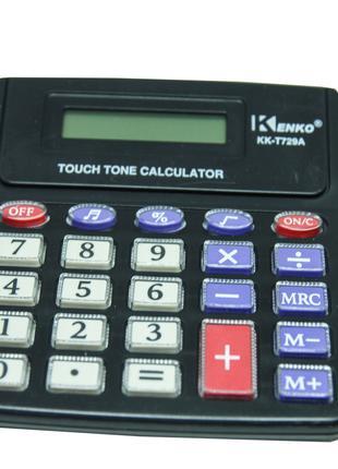 Электронный калькулятор для счета Kenko KK-T729A черный, 8ми р...
