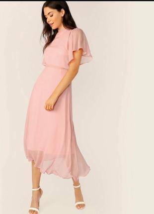 Воздушное нюдовое платье