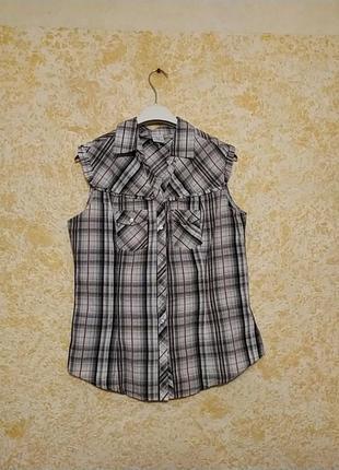 Хлопковая клечатая рубашка без рукавов пьяцца италия