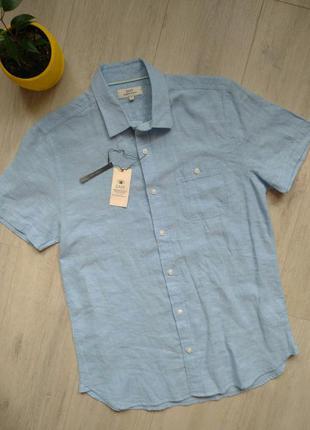 Рубашка мужская голубая натуральная ткань easy matalan хлопок лен