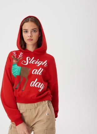Новая короткая широкая красная кофта свитшот новый год олень н...
