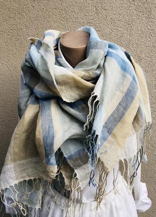 Большой,лен100% шарф,палантин в клетку,италия