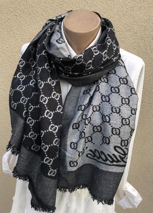 Большой шарф,палантин двухсторонний,люрекс,люкс бренд,италия