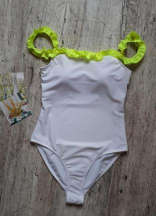 Белый женский купальник, сдельный слитный цельный