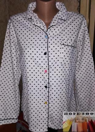Уютная пижамная кофта в сердечки ,домашняя рубашка