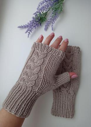 Митенки вязаные перчатки без пальцев ручная работа