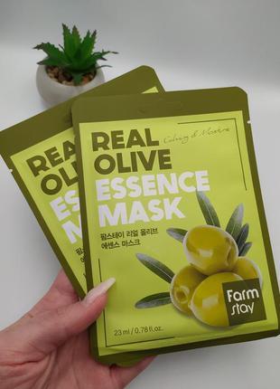 маска с экстрактом оливы farmstay real olive essence mask (1шт.)
