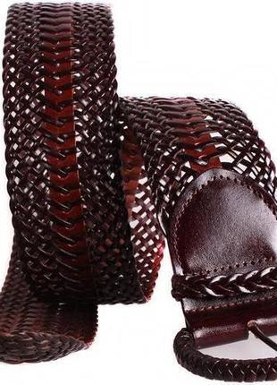 Красивый плетеный пояс бордовый