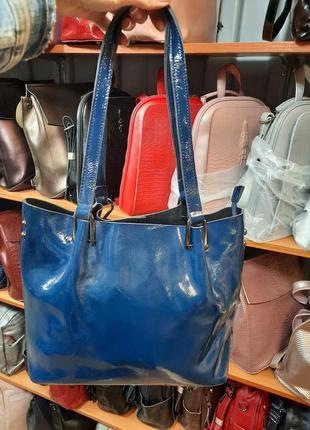 Кожаная сумка синяя лак