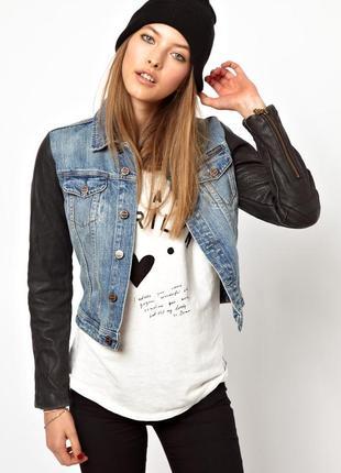 Пиджак maison scotch denim jean jacket leather sleeves