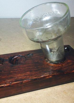 Подставка для паяльника из дерева и стекла