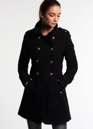 Пальто superdry winter wool coat black g50 toggle riding