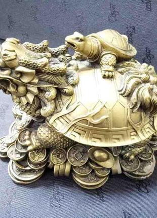 Скульптуры и статуэтки Б/У Черепаха дракон на монетах гипс 22 см