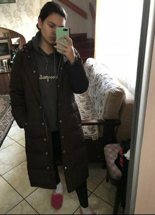 Gap,пуховик, куртка, длинный, черный, довгий