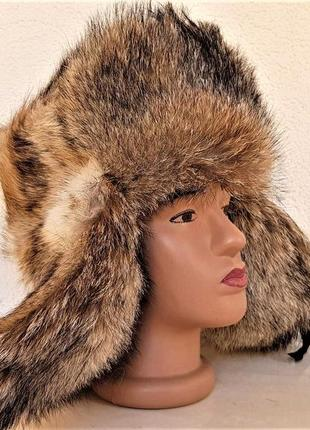 Шапка-ушанка натуральный мех волк