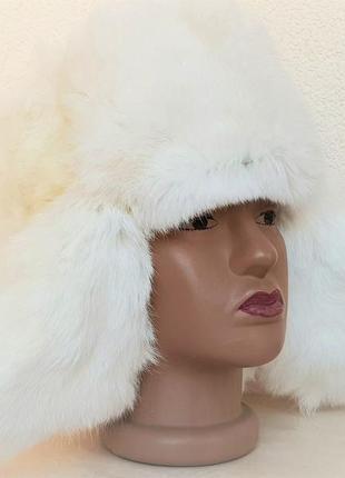 Шапка (ушанка) натуральный мех белый кролик