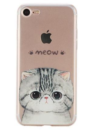 Новый силиконовый чехол с котиком на айфон iphone 7+