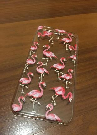 Новый силиконовый чехол на айфон iphone 6plus 6+ с фламинго