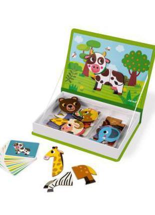 Развивающая игрушка Janod Магнитная книга Животные (J02723)