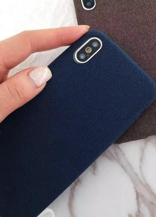 Новый синий тканевый мягкий чехол на айфон iphone xr