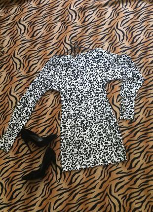 #розвантажуюсь платье-мини с длинным рукавом (леопардовый черн...