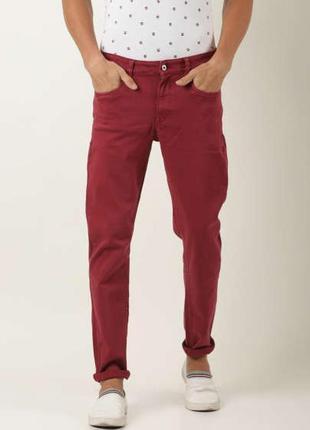Розовые бордовые темные мужские плотные цветные джинсы чиносы ...