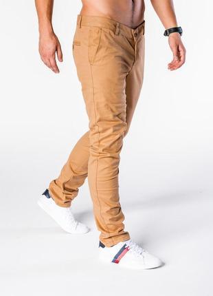 Рыжие песочные плотные хлопковые мужские штаны брюки чиносы le...