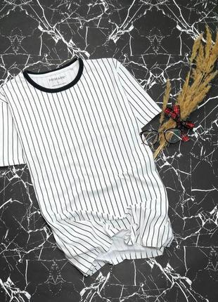 Хлопковая футболка вертикальная тонкая полоска