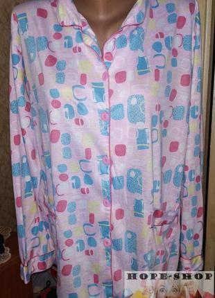 Трикотажная розовая принтованная домашняя рубашка,рубашка для ...