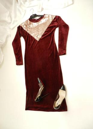 Красивое платье велюр бархат стрейч  длинна миди украшено пает...