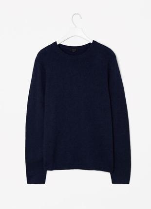 Синий мужской шерстяной свитер теплая вязаная кофта длинный ру...
