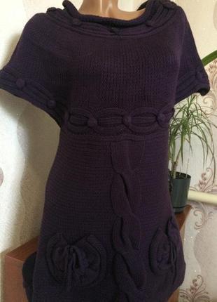 Красивое тёплое платье (туника) с кармашками