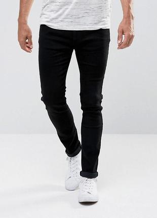 Черные плотные прямые джинсы унисекс мужские высокий рост высо...