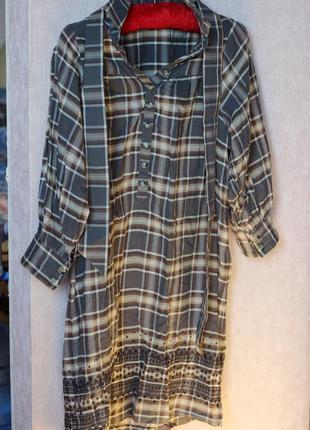 Платье рубашка mango в клеточку