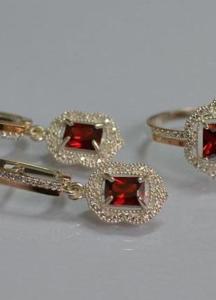 Серебряный набор серьги-подвески и кольцо с золотом и фианитам...