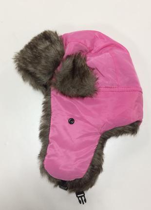 Женская розовая шапка ушанка