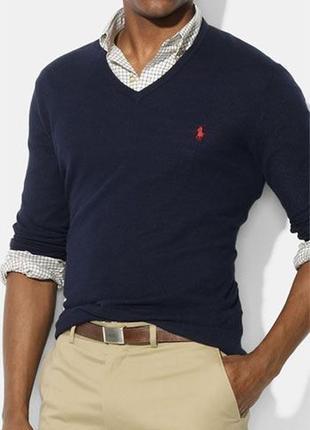Синий натуральный мужской свитер кофта вязаная пуловер с вырез...