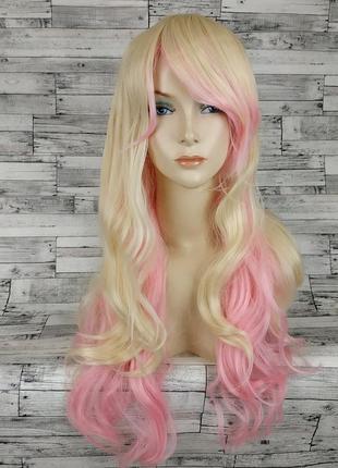 Парик волнистый двухцветный розовый блонд 7731