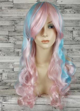 Парик волнистый двухцветный розовый голубой 7730