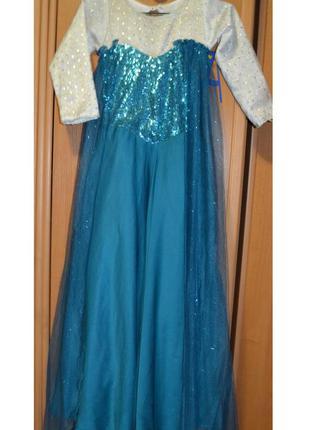 Карнавальный костюм эльза примерно на 9-10 лет, платье эльза