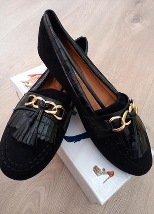 Туфли, туфлі, лоферы, балетки женские замшевые
