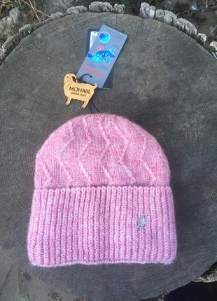 Шапка шерсть с отворотом с флисом утеплена зима розовая пудра